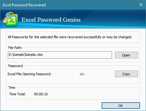 remove password from excel file 2007 is completed with tool
