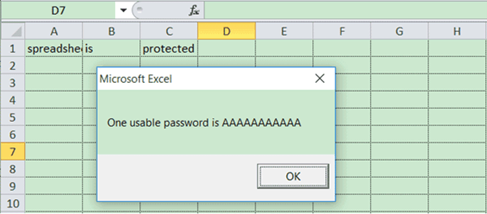 click ok to succefully remove password from excel 2007 via VBA code
