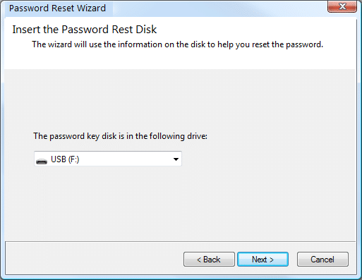 Inserte password reset disk