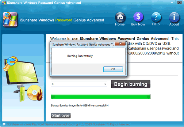 Begin to burn the windows vista password reset disk