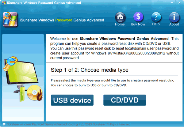 Choose Media Type to reset Windows 7 password