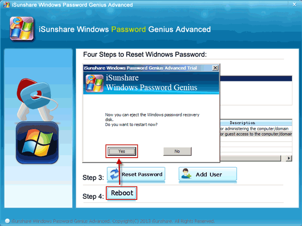 Eject Windows Password Reset Disk