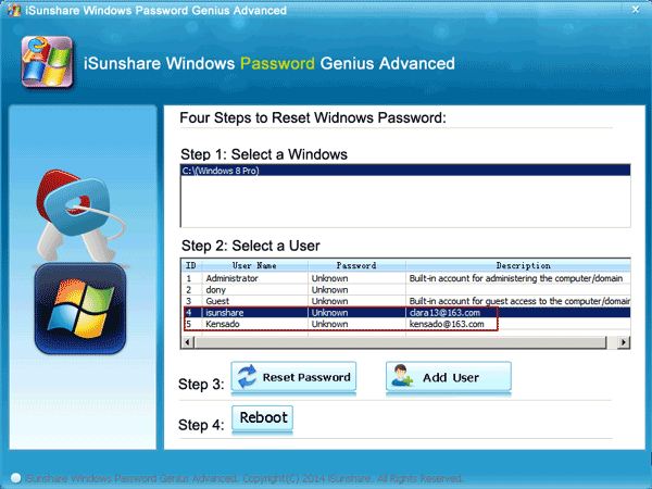 Select Windows XP System and User Account you want to reset password