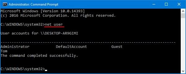 net user in Windows 10