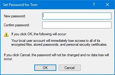 type new password and confirm Windows 10