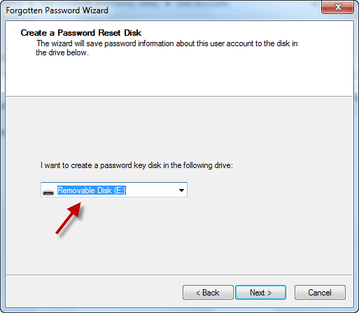 Select USB Drive to Create Password Reset Disk