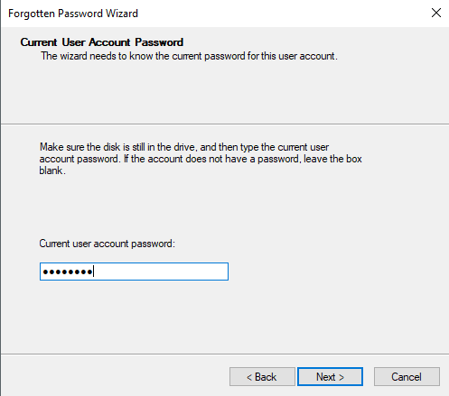 Type in Current Password