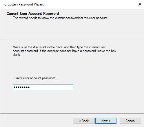 Type in Current Password