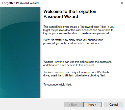 "Click ""Next"" Forgotten Password Wizard"