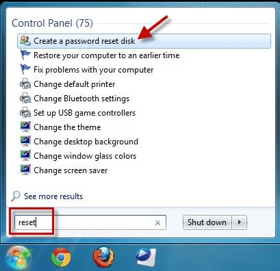 choose create a password reset disk