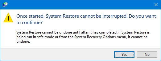 confirm system restore in Windows 10 dialogue