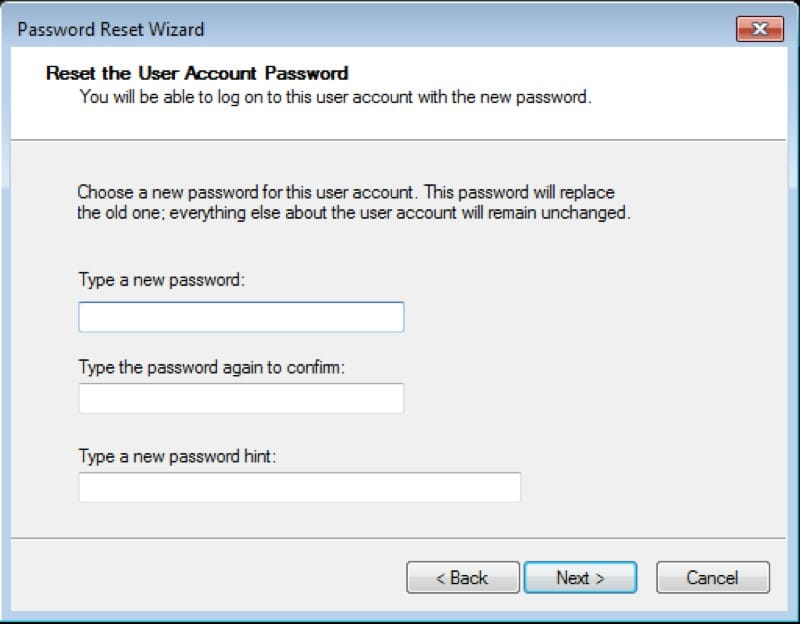 Set new password for Windows Vista account