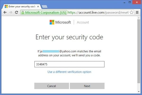 ingrese el código de seguridad de Microsoft