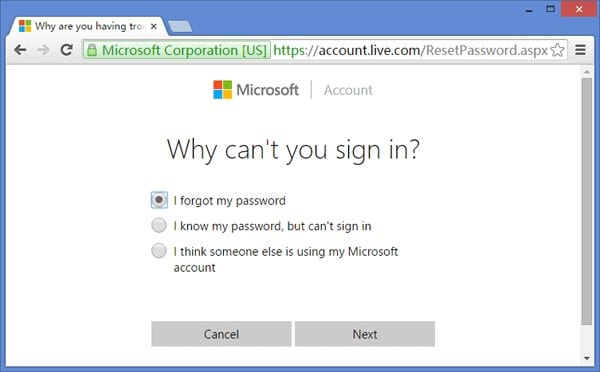 forgot Microsoft account password