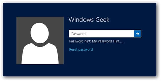 reset password link in Windows 8/8.1