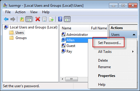 Lusrmgr msc set password