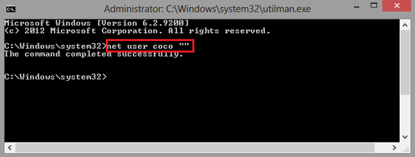 type net user coco to remove Administrator password in Windows 8.1