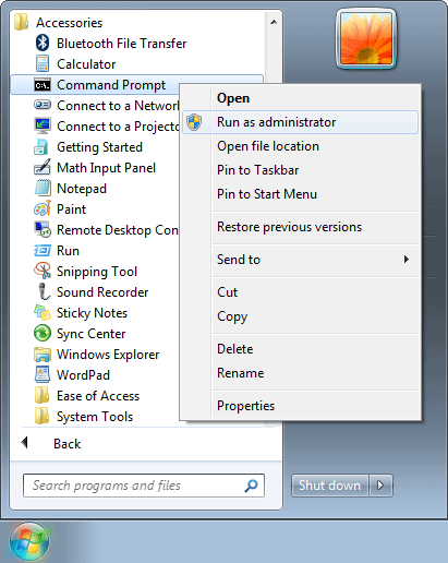 Right-click on the Command Prompt shortcut and select Run as administrator