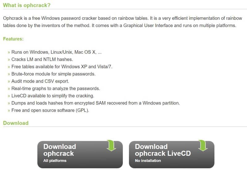 Ophcrack download website