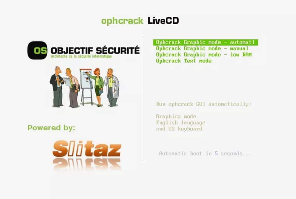 ophrcrack liveCD menu