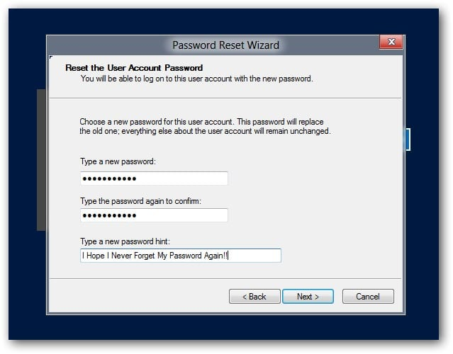 new password for Windows 8/8.1