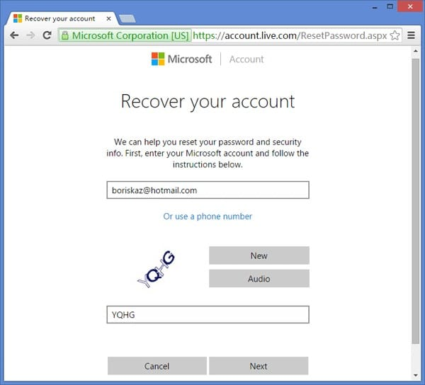 recover microsoft account in Dell laptop