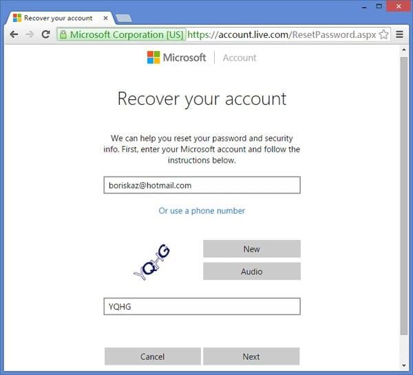 recuperar la cuenta de Microsoft