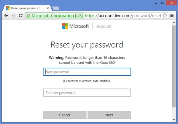 reset microsoft password account
