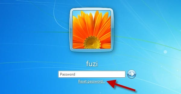 reset password link in Windows 8