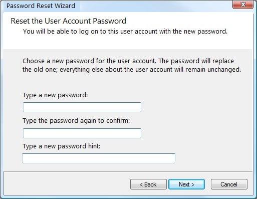 reset password wizard