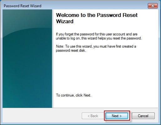 windows 7 reset password wizard zurücksetzen