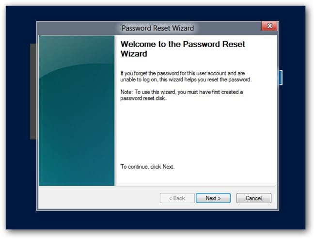 password reset wizard in Windows 8/8.1