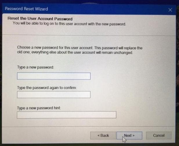 reset user account password