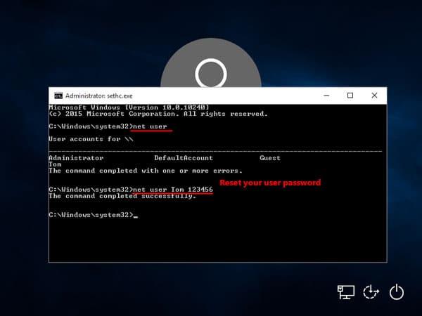 reset windows password at logon