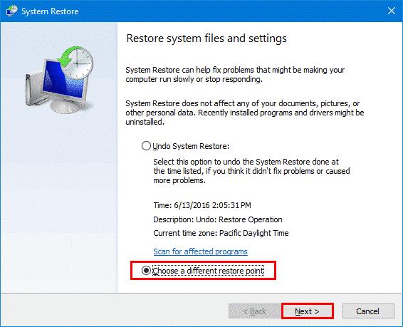 restaurar los archivos del sistema y la configuración