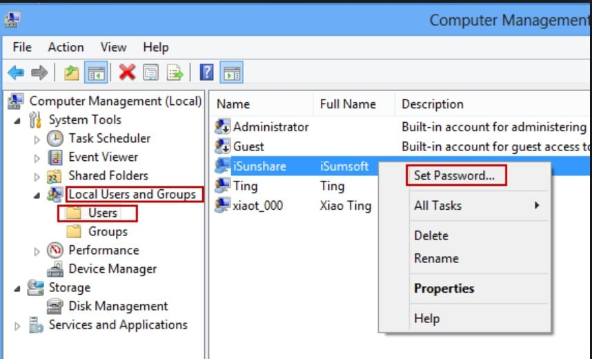 set password computer management