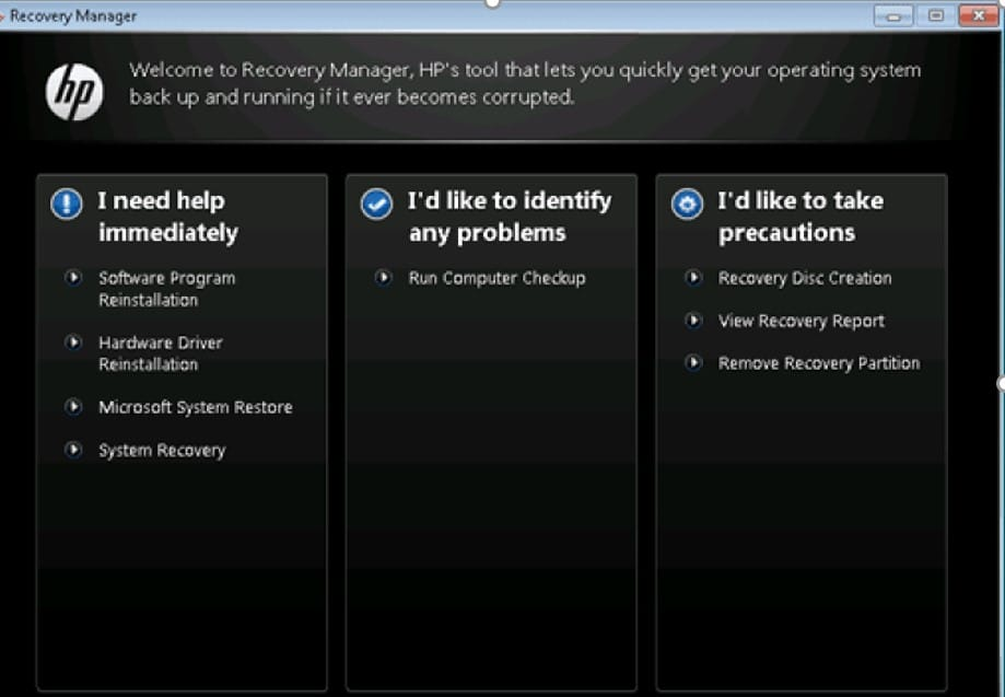 hp laptop system recovery manager