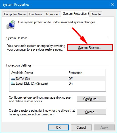 restaurar sistema en windows 10