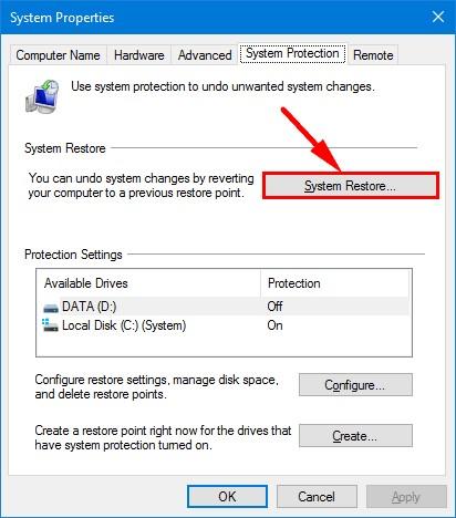 system restore in windows 10