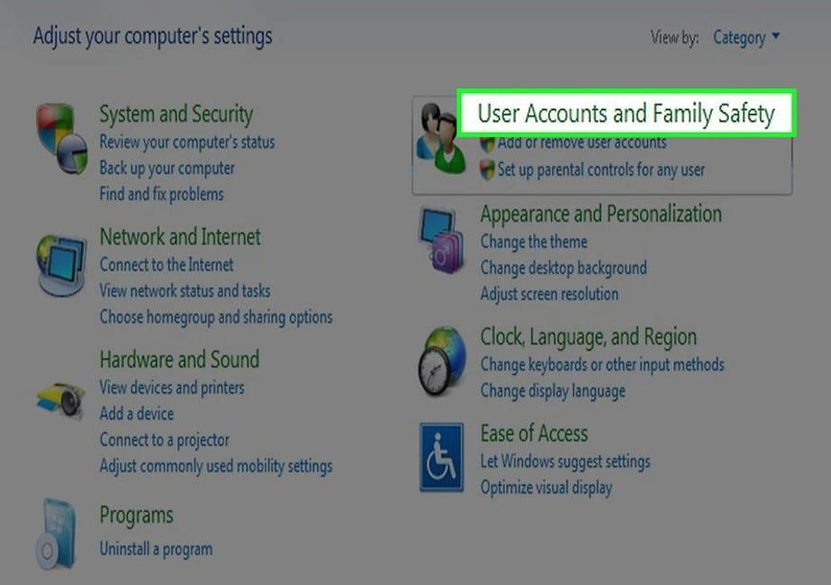 ajustes de cuenta de usuario