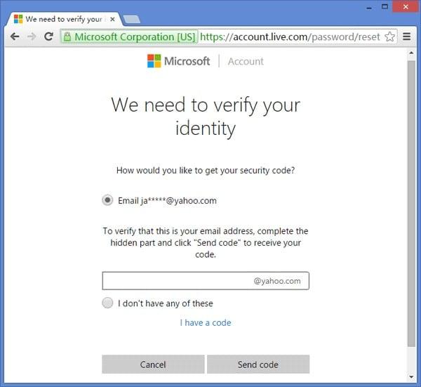 verifique la identidad de la cuenta de Microsoft