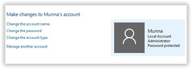 change account details in Windows 8