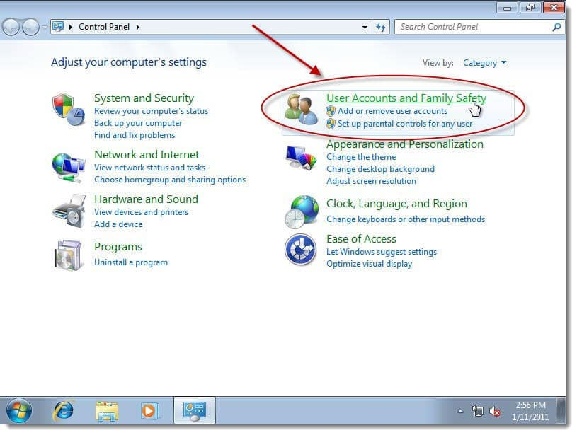 choose user account and family safety in Windows 7