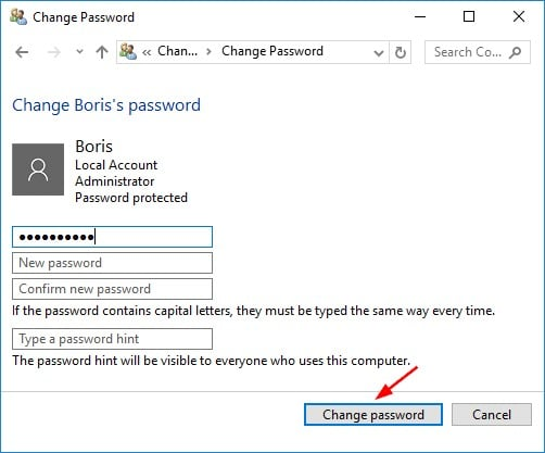 click change password