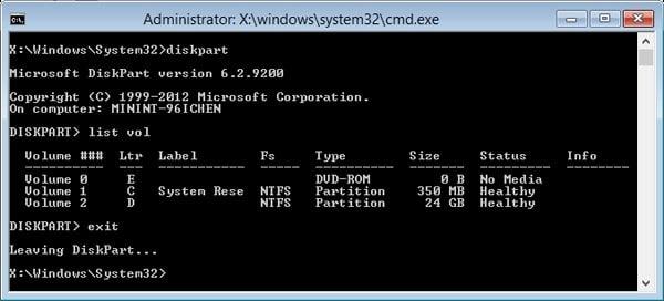 diskpart window