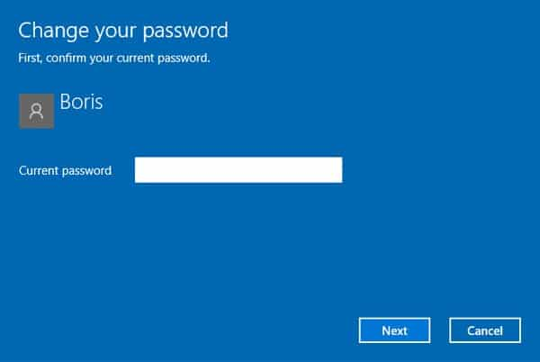 enter current password Windows 10