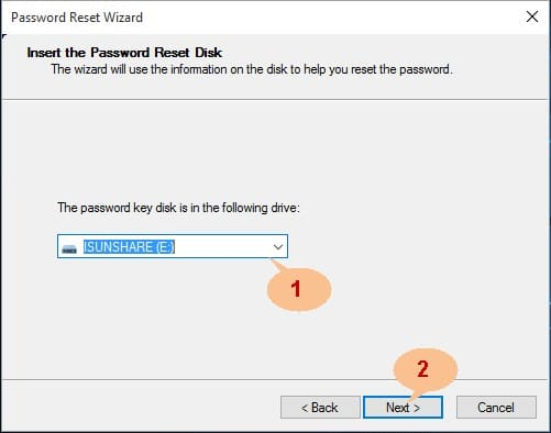 Windows 8 password reset disk wizard