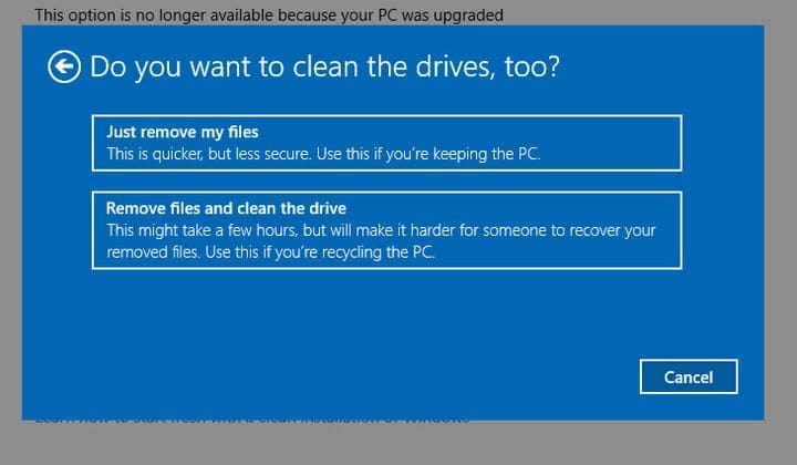 remove files and clean drive when factory reset windows 10 laptop