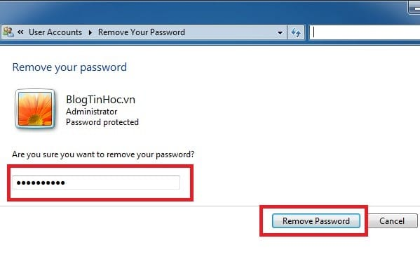 remove password windows 7