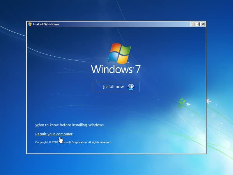 repair your computer Windows 7